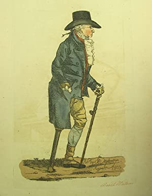 Hand-colored engraved caricature: Depicting a man with a wooden leg