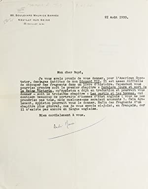 Typed Letter signed to editor Ernest Boyd of the American Spectator, regarding the possible publi...