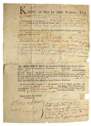 Printed deed/land transfer, accomplished, signed
