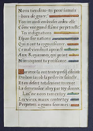 Illuminated Leaf of Clement Marot's Psalm 79,