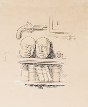 ORIGINAL pen illustration, picturing book shelf with two masks above and pistol hanging on the wall