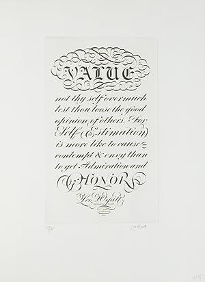 Engravings by Leo Wyatt: Nine wood engravings of various aphorisms printed in white on different ...