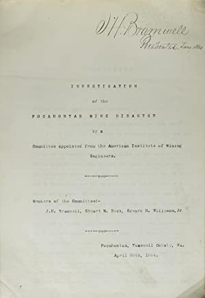 Investigation of the Pocahontas Mine Disaster by a Committee from the American Institute of Minin...