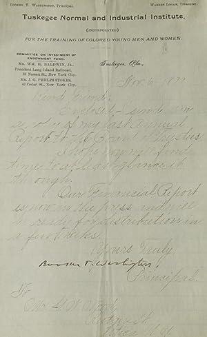 "Letter Signed (""Booker T. Washington""), addressed to: Washington, Booker T."