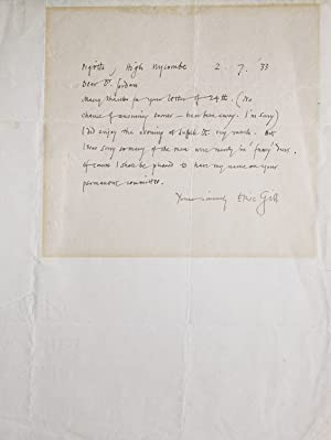 A group of 3 Autograph Letters Signed: Gill, Eric