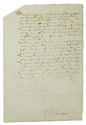 "Letter, signed (""Henry"")? to his ambassador extarordinary: Henry II, King"