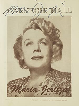 Carnegie Hall Program, SIGNED BY MARIA JERITZA, soprano. Performance date April 29, 1946