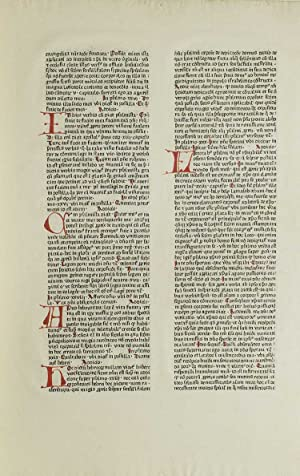 Printed Leaf from Nicolaus de Lyra's Postilla: Incunable Leaf)