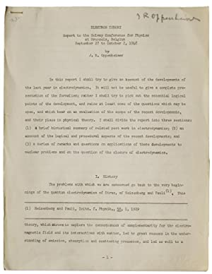 Electron Theory. Report to the Solvay Conference for Physics at Brussels, Belgium, September 27 t...