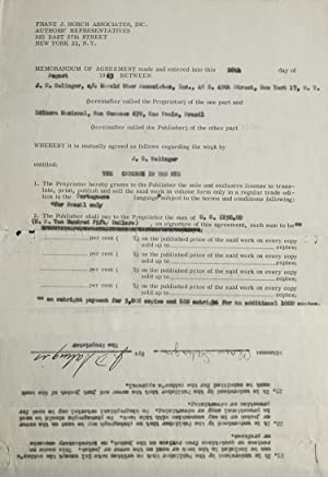 "Contract signed (""J.D. Salinger""), granting Portuguese-language publishing: Salinger, J.D."