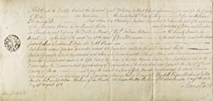 Warrant to sheriff of Essex County, England, for a case tried before William Lord Mansfield and c...