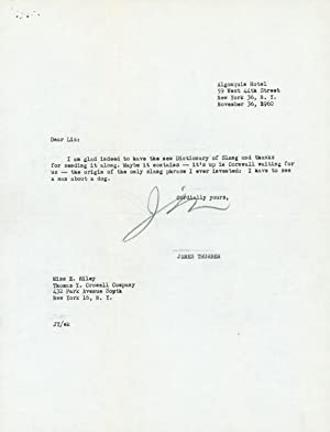 Typed Letter, signed (