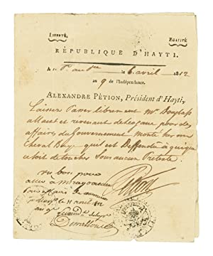 Collection of Haitian Presidential autographs, comprising autograph and partly printed documents ...