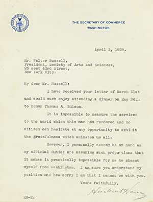Typed Letter, signed, as Secretary of Commerce, to Walter Russell, sculptor and painter, and ...