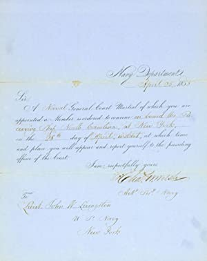 "Autograph Letter signed (as ""John W. Turk"": Livingston, John W.,"