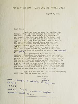 """Typed Letter, signed (""""Ernie""""), to George Brown,: Hemingway, Ernest"""