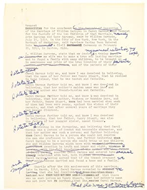 Archive of Drafts of Letters and Documents relating to Saroyan's separation and divorce from his ...