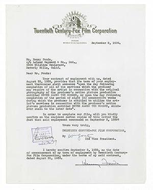 Typed Letter Signed to Twentieth-Century Fox, confirming: Fonda, Henry