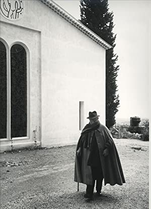 Portrait of Henri Matisse taking a stroll in front of the Chapelle Matisse in Vence