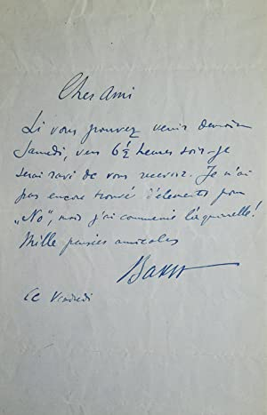 Autograph Letter, Signed. To Edwin Evans