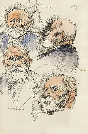4 Head Studies of Dikran G. Kelekian.: Soyer, Raphael (1899-1987)