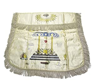 Masonic Apron Engraved and polychrome decorated on
