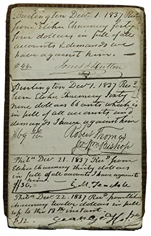 Manucript Receipt book, signed by merchants, officials, collectors, etc.