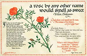 A calligraphic panel on vellum with a watercolor of a stem of roses surrounded by poems and verse...