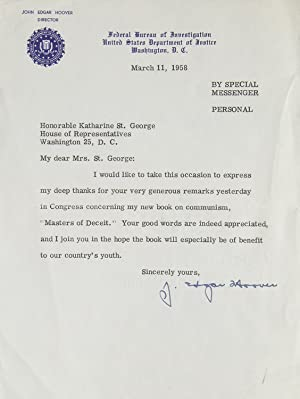 "Two Typed letters Signed (""J. Edgar Hoover""): Hoover, J. Edgar"
