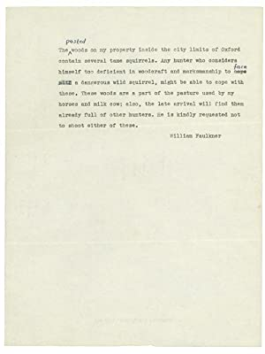 Typed Note about hunting squirrels on Faulkner's farm with three autograph corrections and an Aut...