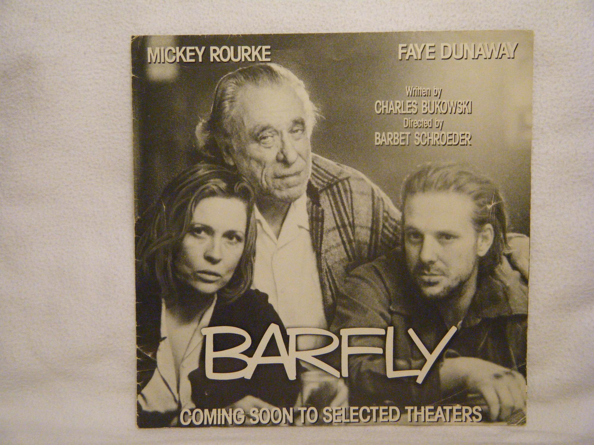 Barfly Movie Poster Bukowski, Charles Very Good Softcover This is a single sheet movie poster for the movie Barfly. It is a square poster that folds down in quarters into an about 8  square booklet. It featur
