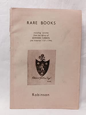 Rare Books and Manuscripts Including Volumes from