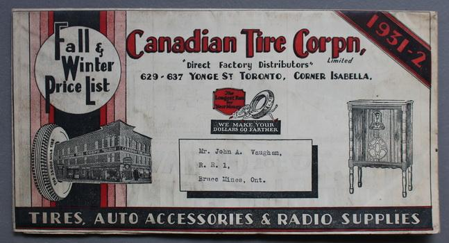 CANADIAN TIRE Corporation 1931-1932 Fall & Winter Price List. (Catalogue / Flyer) Tires, Auto Accessories / Parts, Batteries, & Radio Supplies. Canad