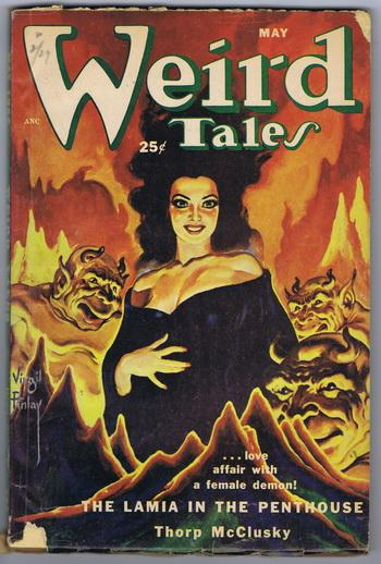WEIRD TALES (Pulp Magazine) May 1952; The Lamia in the Penthouse cover/story by Thorp McClusky...
