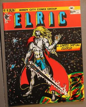 ELRIC - THE FALL OF THE DREAMING CITY. #1 - Early back cover art, pin-up by John Byrne.;