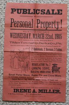 PUBLIC SALE OF VALUABLE FARM AUCTION POSTER DATED March 22nd, 1905 Property of Late Mrs. Willough...