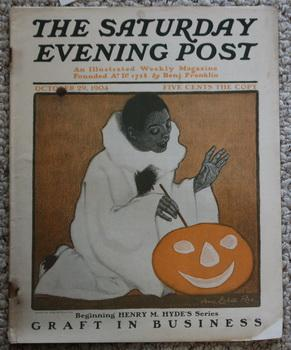 THE SATURDAY EVENING POST. Magazine October 29, 1904 - Halloween Cover of Black Person with Pumpk...
