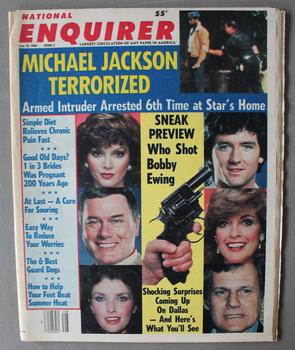 NATIONAL ENQUIRER - July 10/1984; Sneak Preview - Who Shot Bobby Ewing; Michael Jackson Terroried...