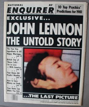 NATIONAL ENQUIRER - December 30/1980; John Lennon the Untold Story - the Last Picture. (front Pag...
