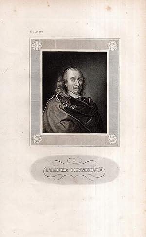Pierre Corneille. Stahlstich-Porträt aus Meyers Konversations-Lexikon.: Corneille, Pierre (1606-1684):