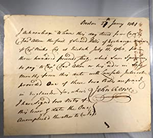 French and Indian War document. 1761. Bill of exchange for Captain Nicolas Cox of the 47 Foot at ...
