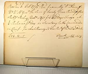 American War of Independence. Manuscript receipts (7) signed by various British Generals (or thei...