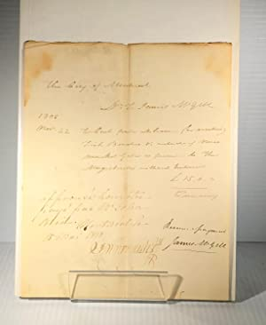James McGill. Document manuscrit signé. 1808