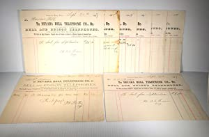 Nevada Bell Telephone Co. 8 Invoices. 1885-1889