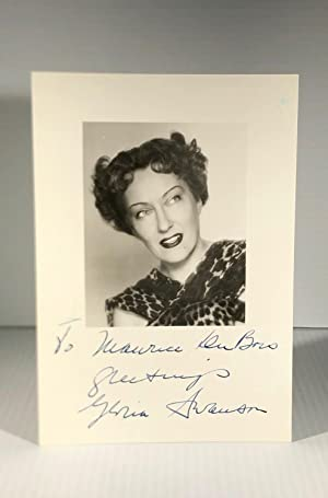 Gloria Swanson. Black and white photograph. Signed