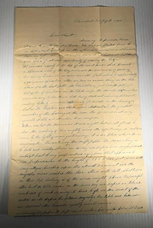 Manuscript letter with a very early description of Davenport, Iowa, and of a Mississippi River St...