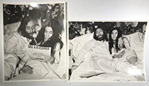 Yoko Ono and John Lennon; Two (2) Photographs signed by photographer