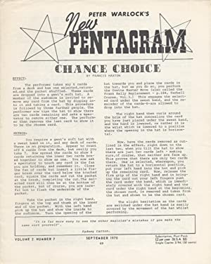Peter Warlock's The New Pentagram, Volume 2, Number 7, September 1970