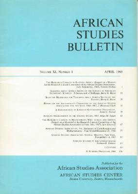 African Studies Bulletin Volume XI, Number 1, April 1968