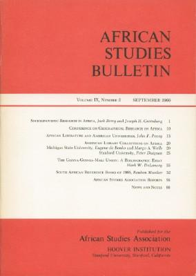 African Studies Bulletin Volume IX, Number 2, September 1966ndes Volumes I-X A958-1967